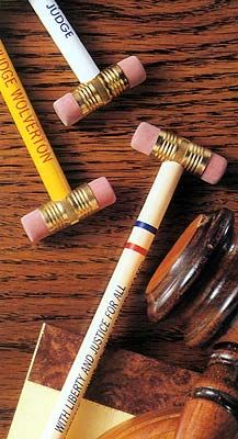 Gavel pencils awe i can put these in treat bags for ur friends haha
