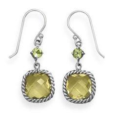 Lemon Quartz and Peridot Drop Earrings