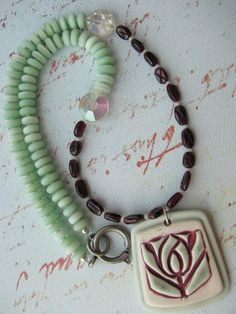 Arts & Crafts Flower Necklace OOAK by expostfacto on Etsy