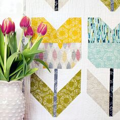= free pattern = Amsterdam Quilt with pieced tulips at Cloud9 Fabrics