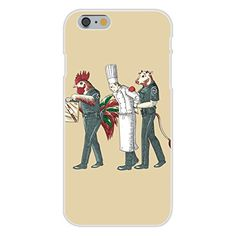 Apple iPhone 6 Custom Case White Plastic Snap On - 'Murder Chef' Funny Vegetarian Humor Chicken & Cow Police