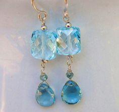 Swiss Blue Topaz London Blue Topaz Blue Diamond 14k White Gold Earrings Raindrops in London by Moonsnail https://www.etsy.com/listing/71412409/swiss-blue-topaz-earrings-blue-diamond?ref=shop_home_active_1
