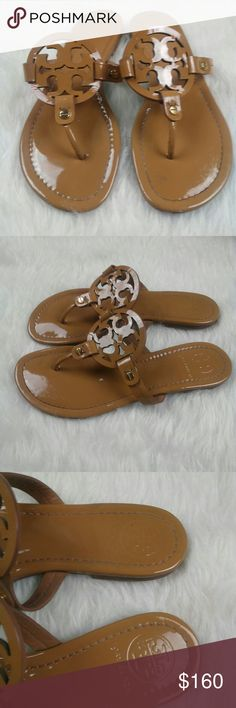 TORY BURCH Women's Miller Patent Leather Sandal Pre Owned  Minor peeling on front     TORY BURCH Women's Miller Fit Flop  Size 7 1/2 M   100% Authentic Tory Burch Shoes Sandals
