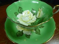 PARAGON FANCY TEA CUP AND SAUCER semi sq.SOFT green / large WHITE ROSE perfect!!