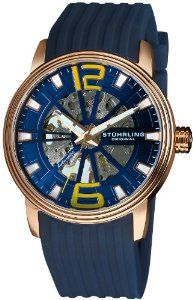Stuhrling Original Men's 1078.3346C6 Classic Delphi Achilles Automatic Skeleton Blue Watch Stuhrling Original. $74.99. Protective Krysterna crystal on front and back. Polished rose gold layered stainless steel round case with triple step design bezel. Water-resistant to 165 feet (50 M). Blue matt skeleton dial with yellow Arabic numerals at the 12 and 6 position. Blue silicon rubber strap with rosetone buckle