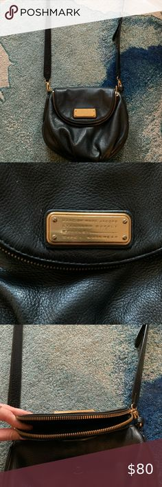 Marc Jacobs Black Natasha Crossbody Bag Black leather Marc Jacobs bag. The front flap has magnetic closure and also zips open for additional room. Detachable/adjustable shoulder strap.   Fabric-lined inside without any rips or tears. Used very minimally - I just don't carry purses much! Marc By Marc Jacobs Bags Crossbody Bags Jacob Black, Marc Jacobs Bag, Black Cross Body Bag, Just Don T, Crossbody Bags, Shoulder Strap, Black Leather, Closure, Zip