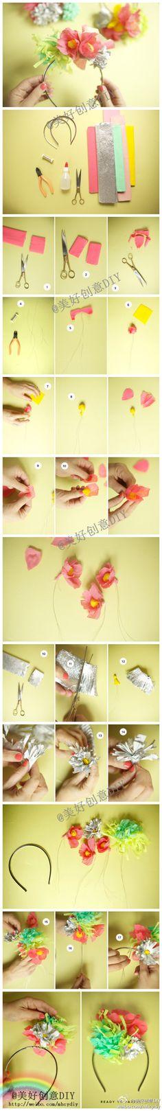 Diadema de flores de papel