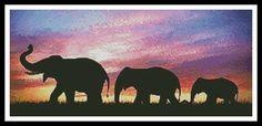 Cross Stitch Craze: Elephant Cross Stitch Silhouettes of elephants in sunset.\