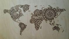 Mandala world map  #woodburning #pyrography #art #lace #art #worldmap #mandala
