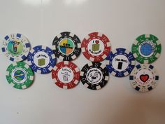 Geocaching GEO-SWAG Poker-chip 10pc you choose style | eBay- I could totally make these! Another great swag idea, and a way to use up all those stupid poker chips!