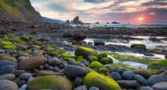 sunrises green stones [3840x2160]