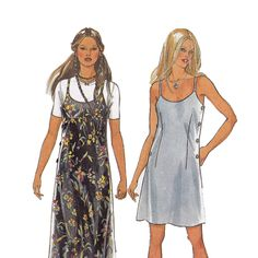Strappy 90's Dress Sewing Pattern Multisize New Look 6345 UNCUT FF... I used to wear the outfit on the left all the time. I miss the 90s