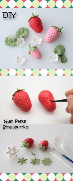 diy gum paste strawberries