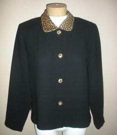 Coldwater Creek Black Leopard Trim Blazer Womens Sz 10 #ColdwaterCreek #Blazer