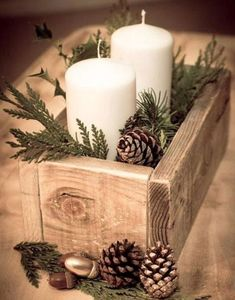 20 Magical Christmas Centerpieces Rustic Container Box Candle Decoration More from my site Elegant Christmas Table Centerpieces To Your Holiday Decor Planter Box Thanksgiving Centerpiece Magical Christmas, Noel Christmas, Winter Christmas, Country Christmas, Homemade Christmas, Christmas Candles, Simple Christmas Decorations, Christmas 2019, Winter Decorations