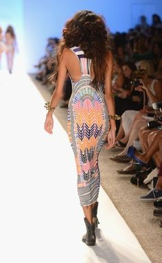 MIAMI BEACH, FL - JULY 21:  A model walks the runway at the Mara Hoffman show during Mercedes-Benz Fashion Week Swim 2013 at The Raleigh on July 21, 2012 in Miami Beach, Florida.