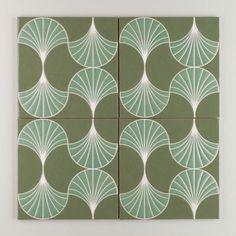 Sakura - Sensu Green Motif | Mimicking the silhouette of a Japanese hand fan, Sensu's organic, oval lines create a minimalist and soothing pattern. | $35/Piece | 8x8 size