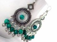 Clovie Earrings $14.00 - Ladies beaded chandelier earrings. Green howlite, and Tibet silver on silver plated wire.