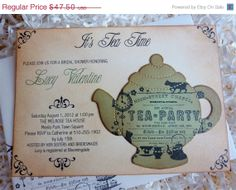 SALE Bridal Shower Tea Party Invitation by ifiwerecards on Etsy, $42.75
