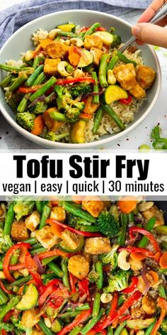 Vegetarian Stir Fry, Vegan Stir Fry, Tasty Vegetarian Recipes, Vegetarian Recipes Dinner, Vegan Dinners, Easy Vegetarian Dinner Recipes, Stir Fry With Tofu, Easy Healthy Vegetarian Recipes, Plant Based Dinner Recipes