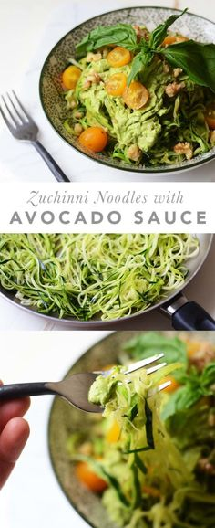 Zoodles with Basil Avocado Sauce