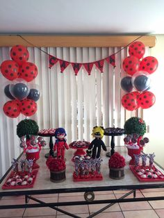 Fofurebas By Jackie: Festa da Camila- Miraculous 6th Birthday Parties, Baby Birthday, Birthday Party Decorations, Miraculous Ladybug Party, Ladybug Cakes, Baby Bug, Holidays And Events, Party Time, Balloons