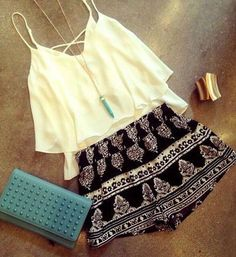 patterned skirt white tank and necklace = perfect combo find more women fashion on http://www.misspool.com
