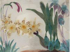 "lawrenceleemagnuson: ""Emil Nolde (1867-1956) Blumenstilleben mit orchideen (1923-24) watercolour on paper 35.5 x 47 cm"""