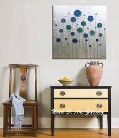 ❘❘❙❙❚❚ ON SALE ❚❚❙❙❘❘ Title : Lollipop Trees Original Modern Abstract art painting. Textured Painting. Modern Wall Decor. size: 24 x 24 x 1.5 MEDIUM: Acrylic. CANVAS: Gallery Wrapped Canvas, the sides painted in beige. A final coat of high quality varnish has been applied to