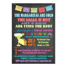 Chalkboard Mexican Fiesta Bridal Shower Announcements