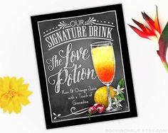 Signature Drink Signs - Made to Order to Your Specification  Small and portable, these lightweight 8x10 signs are the perfect thing to pack in your suitcase for a destination wedding!  This listing features a particular glass style filled with a particular colored beverage and select garnishes. PURCHASING THE ILLUSTRATION AS IT IS The base price of this listing will have THIS drink illustration with NO changes. The base price DOES allow you to personalize: - The Header Wording - The Drink…
