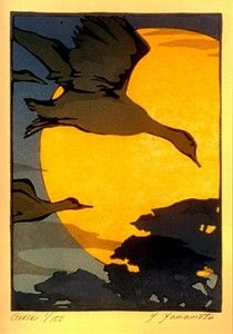 Image result for Japanese paintings and artwork geese flying at sunset