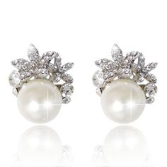 """PAIR Olive Leaf Floral Pearl Crystal Bridal Wedding Tunnels Gauges Plugs Earrings 0g 00g 7/16"""" 1/2"""" 9/16"""" 5/8"""" 11/16"""" 8mm 9mm 11mm 12mm by plugparlour. Explore more products on http://plugparlour.etsy.com"""