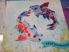 HandmadebyRenuka: I DIE SET AND 5 CARDS WITH KOI FISH DIE