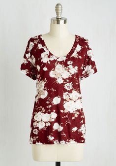 Just Because Tee in Burgundy | Mod Retro Vintage Short Sleeve Shirts | ModCloth.com