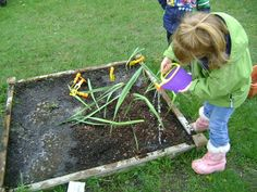 This blog has great reasons why outdoor play is very important. In the photo, children are watering the miniature garden. It would be a great idea to have an area where children can go outside to water plants, to help plant seeds by digging holes, and showing them the roles on how to maintain a healthy garden. It would be great to tie it into a lesson with children in Kindergarten. Very open-ended, and lots to change to make it your own.