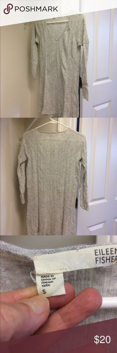 """Eileen Fisher sweater Eileen Fisher thin light gray sweater. 29"""" long. Chest 18"""". V neck. Smoke and pet free home. Best with camisole underneath. 3/4 sleeves. Eileen Fisher Sweaters V-Necks"""