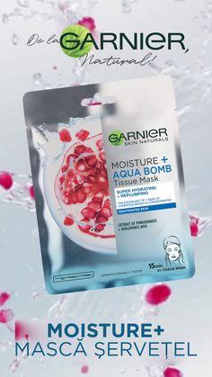 Masca de fata super hidratanta Garnier Moisture Aqua Bomb, 32 g - eMAG. Hydrating Mask, Face Care, Pomegranate, Skin Care Tips, Natural Skin Care, Moisturizer, Aqua, Wallpaper Art, Makeup