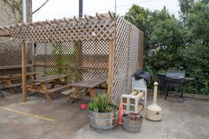Outside, dog friendly patio seating at Adelbert's Brewery Taproom in Austin, TX Photo by: Kevin Gourley