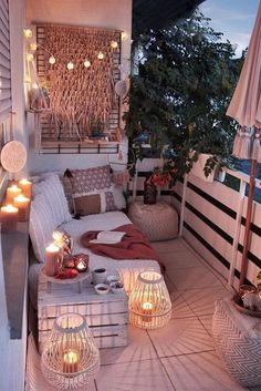 From string lights to solar lights and beyond, we've got the best outdoor lighting ideas here. They're such an easy way to elevate and dress up your backyard, especially if you have a patio area. Small Balcony Design, Small Balcony Decor, Outdoor Balcony, Balcony Garden, Balcony Decoration, Terrace, Balcony Hanging Plants, Patio Balcony Ideas, Small Patio Ideas Townhouse