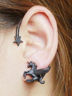 Black Star And Unicorn Embellished Ear Cuff