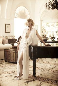 lady in white, grand piano