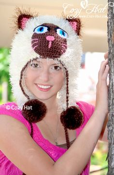 Siamese Furry Kitty has six soft pom-poms. Hand Crochet with silky-soft acrylic yarn with fur for that luxurious fur-look. Great as a gift. - See more at: http://www.cozy-hat.com/products/siamese-furry-kitty-hat/#sthash.8v2CyCVg.dpuf