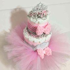 3-Tier Pink Welcome Little Princess Tutu Diaper Cake