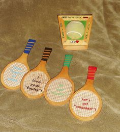love tennis, why not show these vintage coasters off and with a drink ;o)  http://www.etsy.com/listing/93891762/vintage-coasters-tennis-rackets