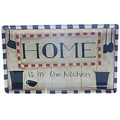 @Overstock - This cute platter will add a touch of fun to any kitchen decor or family meal. The platter features the saying 'home is in the kitchen'.http://www.overstock.com/Home-Garden/Certified-International-Family-Table-13-inch-x-8-inch-Rectangular-Platter/6409766/product.html?CID=214117 $24.99