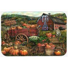 Caroline's Treasures Pumpkin Patch and Fall Farm Kitchen/Bath Mat Size: 2 Planting Pumpkins, Pumpkin Farm, Pumpkin Plants, Pumpkin Pics, Pumpkin Leaves, Autumn Scenes, Glass Cutting Board, Cutting Boards, Autumn Art