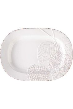 """This stunning platter is very pretty, with an embossed hydrangea detail and a milky glaze in white over terracotta. After all, delicious food is made even better by beautiful presentation. It goes nicely with other Hydrangea items from this collection.    Measurements:14"""" X19"""".   Hydrangea Ceramic Platter by Mud Pie. Home & Gifts - Home Decor - Dining Boulder, Colorado"""