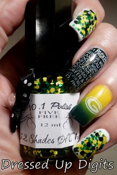 Dressed Up Digits: Go Pack! Go!! This is my custom made Packer polish named 52 Shades Of Clay. It has yellow hexes, green squares and black circles.