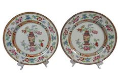 Antique Chinoiserie English Plates, Pair